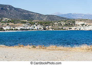 Wavy Rocky coast on the island of Crete.