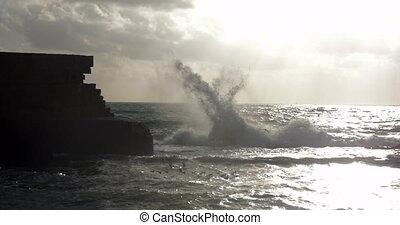 Wavy sea and ancient walls of Acre city, Israel - Sea...