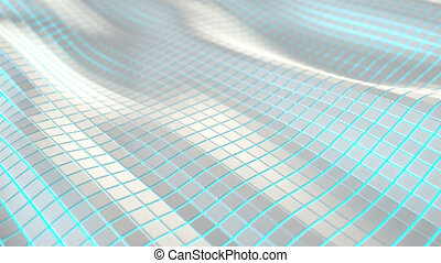 Wavy surface made of white cubes with glowing background