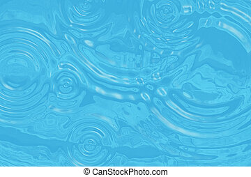 Wavy turquoise water surface with circles of drops. illustration