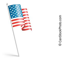 Wavy USA national flag isolated on white