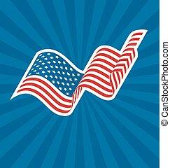 Wavy USA National Flag on Blue