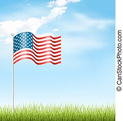 Wavy USA national flag with grass and clouds on sky