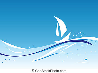 wavy vector with sailboat - abstract wavy vector with...