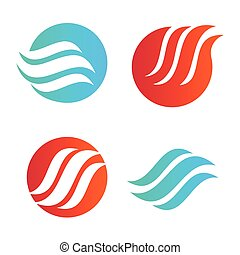 Wavy wave in round shape, red and blue feather logos. Isolated abstract decorative logo set, design element template on white background