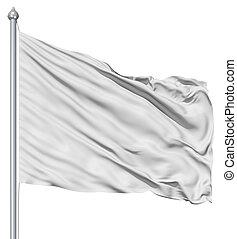 Wavy white textile flag on flagpole - Wavy white textile...