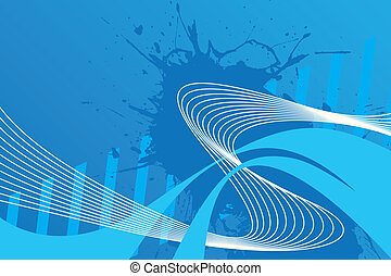 Wavy Wires Layout - An abstract blue design with plenty of...