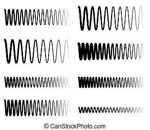 Wavy, zigzag EQ equalizer lines. Amplitude, soundwave, frequency concepts