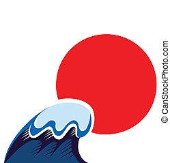 wawe, japón, símbolo, tsunami, sol, aislado, blanco