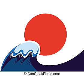 wawe, japan, symbol, tsunami, sol, isolerat, vit