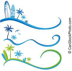 wawe, palm, set, boompje, achtergrond