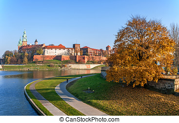 Wawel Castle and Vistula River in Fall, Cracow Poland -...