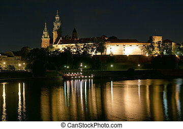 Historic Wawel castle in Cracow by night