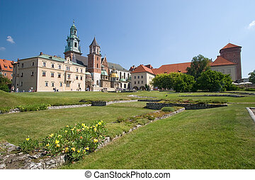 Beautiful summer view of medieval wawel castle in Cracow, Poland