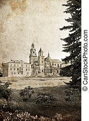 Wawel castle in Krakow - vintage styled picture