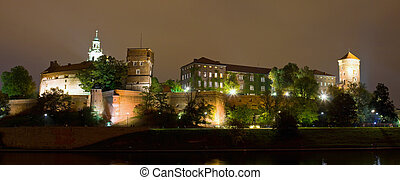 Wawel Castle on night in Cracow, Poland.