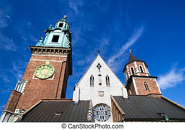 Closeup of the Wawel Cathedral towers part of the Wawel Royal Castle in Cracow, Poland.