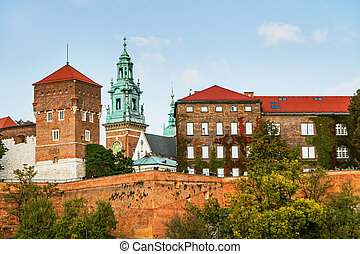 Wawel hill with castle in Krakow