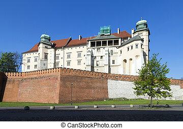 wawel, real, castelo, em, krakow, polônia