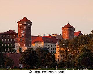 Wawel Royal Castle before sunset, Krakow, Poland