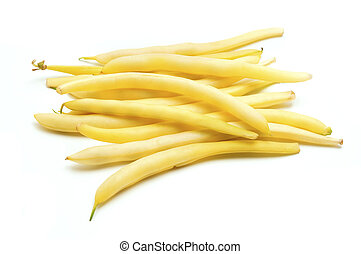 Wax beans on a white background