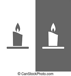 Wax candle icon on white and black background