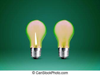 Wax candle into lighting bulb .