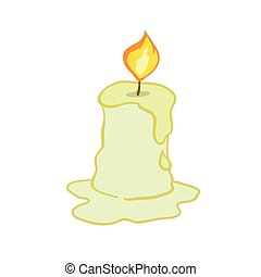 Wax candle on a white background. Candle burning, vector illustration.