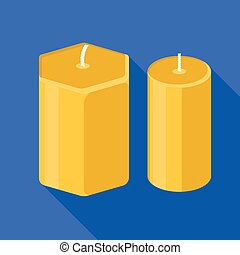 Wax candles icon, flat style