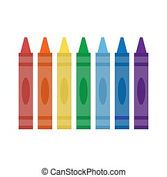 Wax colorful crayons isolated on white