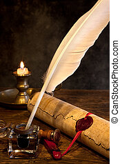 Wax seal and quill pen - Ancient parchment or diploma scroll...
