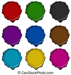 Wax seal colored collection - Colored wax seals used to sign...