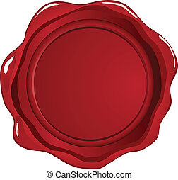 Wax seal - Red wax seal on white
