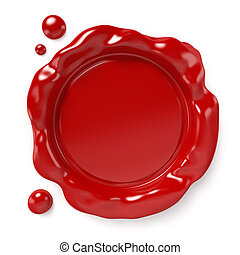 Wax Seal - Red wax seal with space for logo or text isolated...