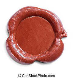 Wax seal isolated. Clipping path with no shadows is included.
