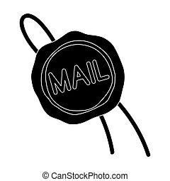 Wax seal. Mail and postman single icon in black style vector symbol stock illustration web.