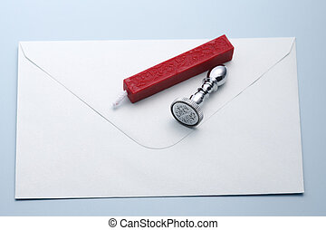 Wax seal, stamp on white envelope