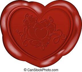 Wax Seal - Vector illustration of Heart shape wax seal for ...