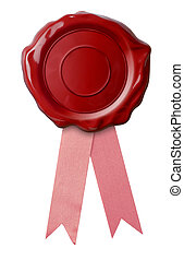 wax seal with pink ribbon isolated