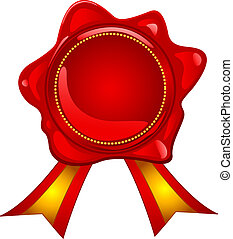 Blank red wax seal with gold ribbon, perfect for reward, prize, sale or other announcement.