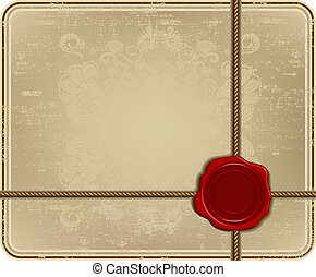 Wax seal with rope on vintage frame. Vector illustration.
