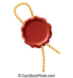 Wax seal with rope - Vector illustration of a wax seal with...
