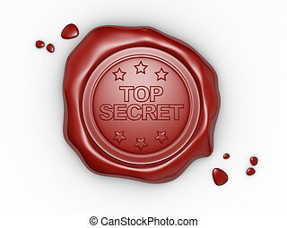 Wax seal with small stars and the word Top Secret. 3d render...