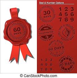 Wax Shield - Money Back Guaranty - EPS 10 embossed wax seal....