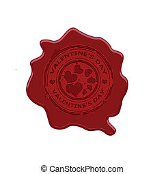 Wax stamp whit text valentin's day vector illustration