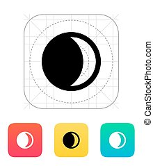 Waxing crescent moon icon.