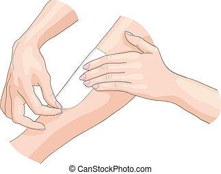 Waxing epilation. Vector illustration.