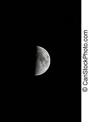 Waxing Moon Portrait with Copy Space