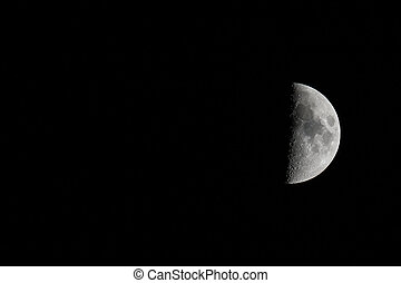 Waxing Moon Right Landscape with Copy Space