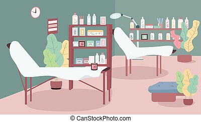 Waxing salon flat color vector illustration. Workplace in cosmetology shop. Beds for hair removing procedure. Room for depilation. Beauty parlour 2D cartoon interior with furniture on background